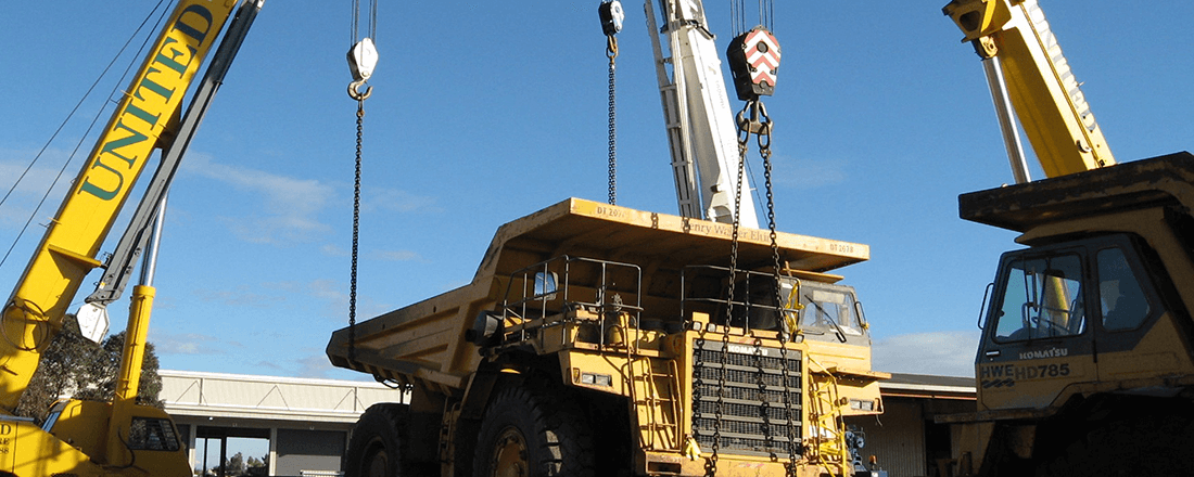 Crane Lifting a Truck - United Crane Services - Crane Company in Perth